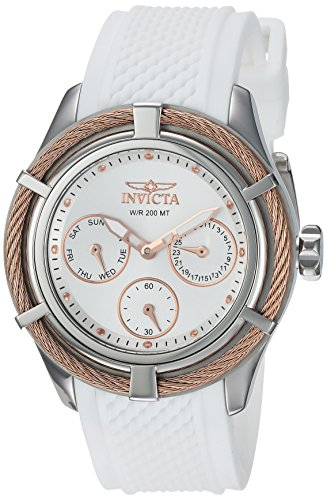 Invicta Women's 'Bolt' Quartz Stainless Steel and Silicone Casual Watch, Color:White (Model: 24457)
