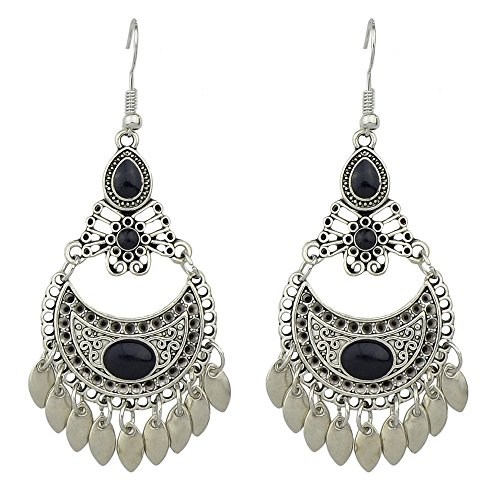 Indian Style Silver Plated Enamel Big Chandelier Earrings (Black) (Enamel Chandelier Earrings)