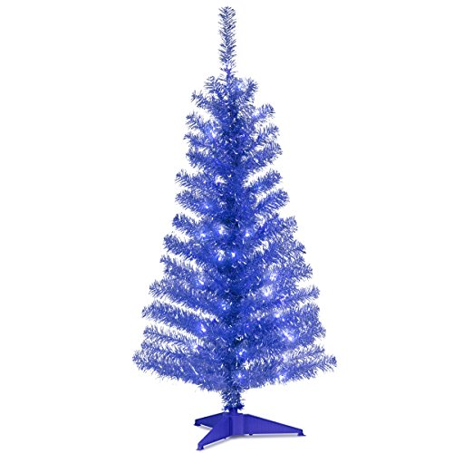 Blue Tinsel Christmas Tree - National Tree 4 Foot Blue Tinsel Tree with Plastic Stand and 70 Clear Lights (TT33-307-40)