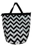 Chevron PVC BIG Zipper Top Bag Tote (Black Chevron)