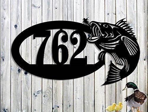 Large Mouth Bass Fish Custom address Lake House Sign 19 x 10 1/4 Fishing, Cabin Address Sign Father's Day Gift Garden Art Man Cave Bar Fishing Sign Made IN USA