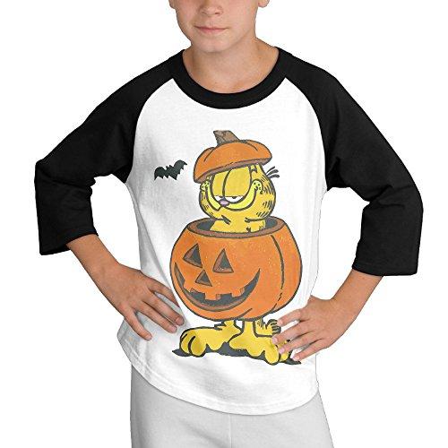 Garfield Halloween Teens Casual Crewneck Cotton 3/4 Sleeve Raglan Jersey Tees]()