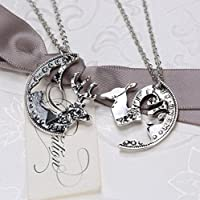 Fashion Silver Tone Necklaces Crystal Christmas Deer Pendent Chain 2 Couple Gift