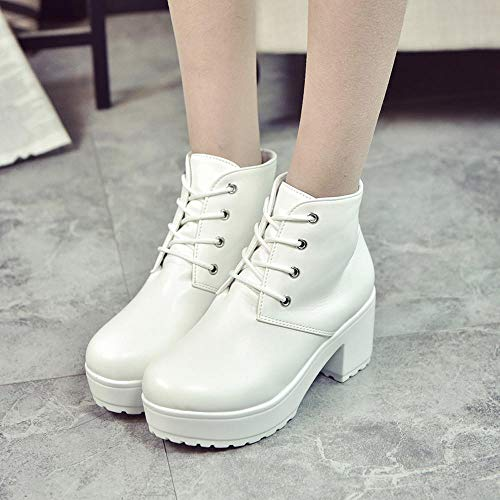 Botines Alto De Plano Plataforma Altas Tacon Invierno Logobeing Botas Cuero Tobillo Zapatos Oxford Cortas Blanco Mujer Casuales fqxwpCtn