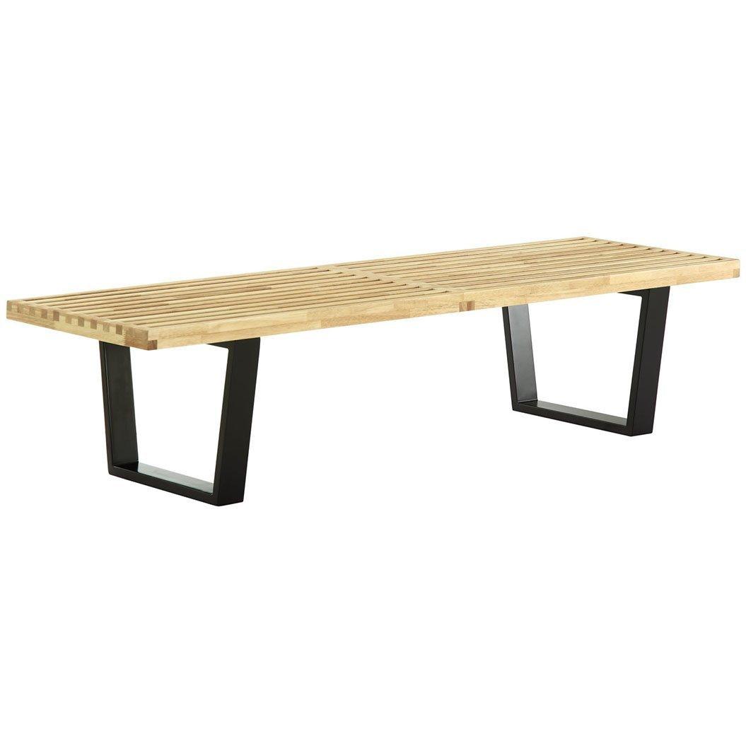 Amazon com emodern furniture emod george nelson platform bench 3 sizes rubber hardwood top natural 4 feet garden outdoor
