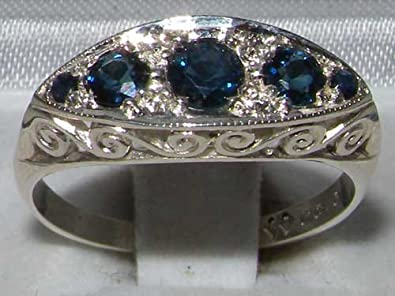 925 Sterling Silver Natural Sapphire Womens Band Ring – Sizes 4 to 12 Available