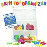 Ah Baby Bathtub Letters with Bath Toy Organizer Bag for Neat Bathrooms and Smart Kids