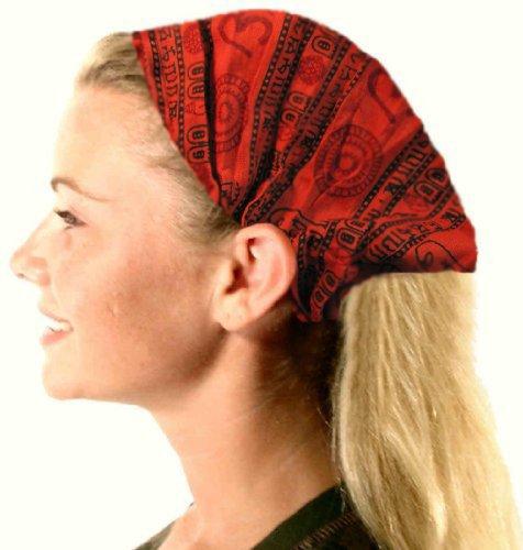 Cotton Stretch Elastic Bohemian Hippie Gypsy Bandana Yoga Hairband Hair Scarf /w OM NAMAH SHIVAY (Gypsy Head Scarf)