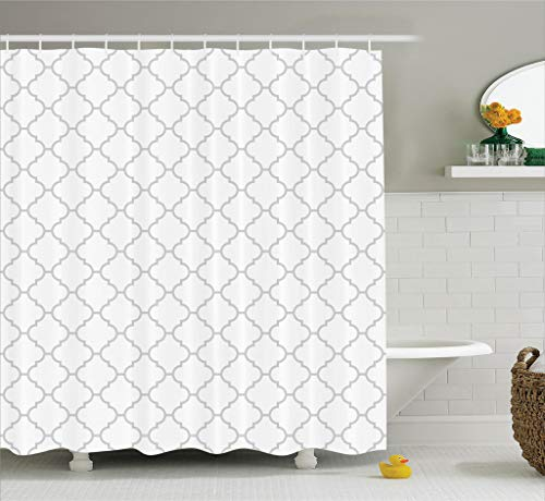 (Ambesonne Gray Shower Curtain Grey Decor, Simple Monochrome Patterns Geometric Linked Forms on Plain Background Modern Figures Print, Polyester Fabric Bathroom, 84 Inches Extra Long, White Gray)