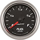 AutoMeter 19609 Pro-Cycle Programmable Fuel Level Gauge 2-1/16 in. Black Dial Face Fluorescent Red Pointer Blue LED Lighting Digital Stepper Motor Programmable 0-280 Ohms Pro-Cycle Programmable Fuel Level Gauge