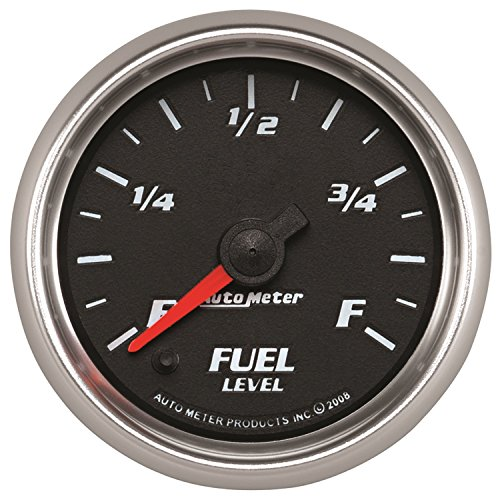 Autometer Fuel Level - AutoMeter 19609 Pro-Cycle Programmable Fuel Level Gauge 2-1/16 in. Black Dial Face Fluorescent Red Pointer Blue LED Lighting Digital Stepper Motor Programmable 0-280 Ohms Pro-Cycle Programmable Fuel Level Gauge