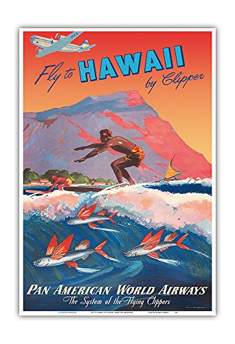 Fly to Hawaii by Clipper - Pan American World Airways - Hawaiian Surfer, Diamond Head Crater - Vintage World Travel Poster by Mark Von Arenburg c.1940s - Hawaiian Master Art Print - 13 x 19in ()