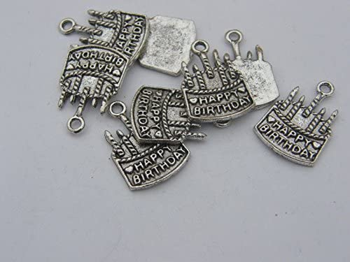 8 Birthday Cake Charms Antique Silver Tone FD136