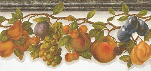 Die Cut Fruit Wallpaper Border - Wallpaper Border Classic Fruit Vine Grapes Pears Peaches Die Cut Bottom Edge