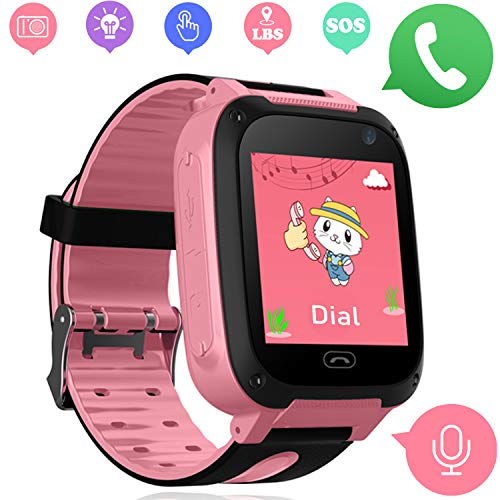 Girls Boys Watch Phone - Kids Smartwatch with LBS/GPS Tracker Compatible iOS Android with SOS Call Flashlight Camera Two Way Call Touch Screen Games Watch for Children 3-12 Christmas Birthday Gift