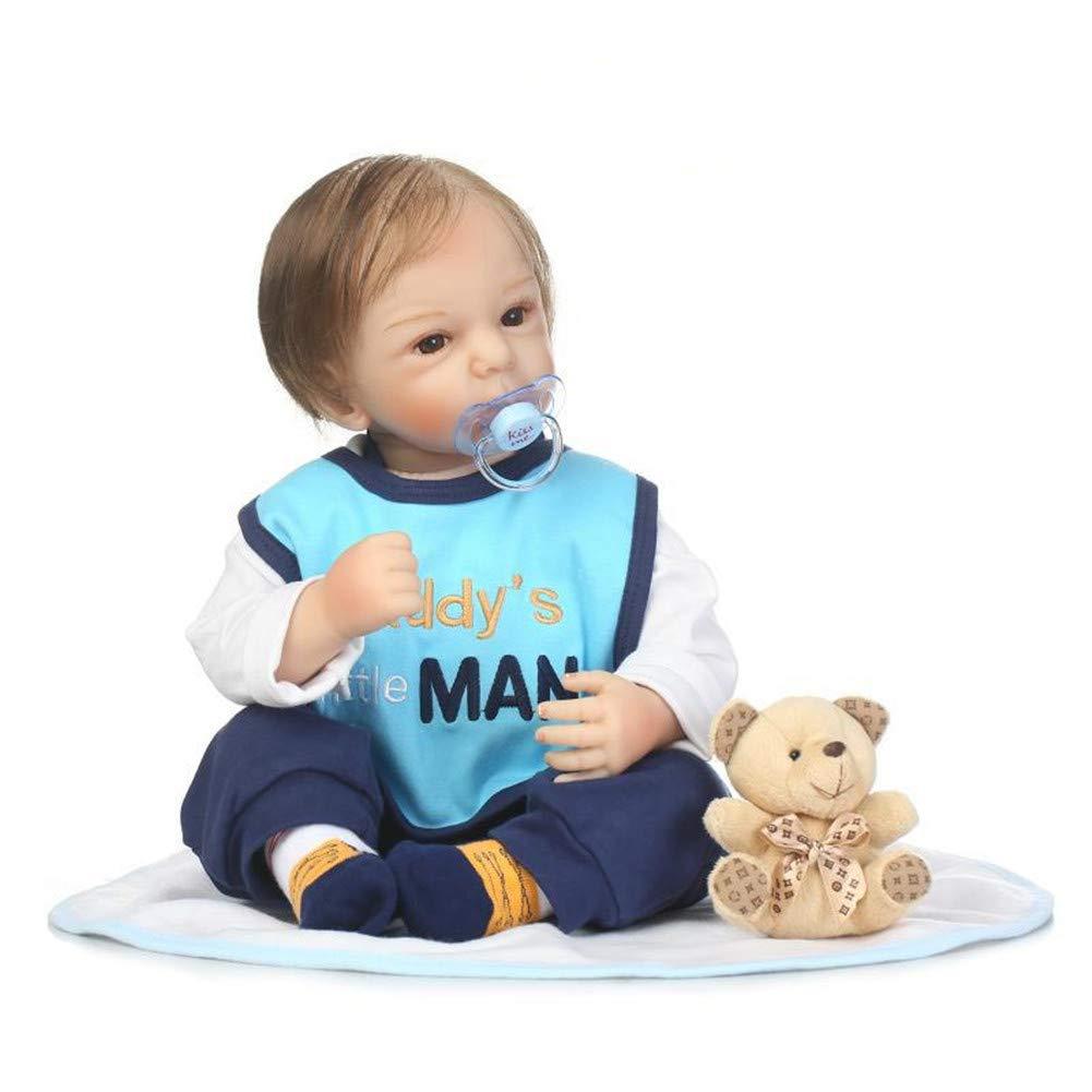 Reborn Puppen Silikon Vinyl Echte Lebensecht Babypuppe Realistisches MäDchen Baby Doll Spielzeug Newborn Puppen 50cm 2boy