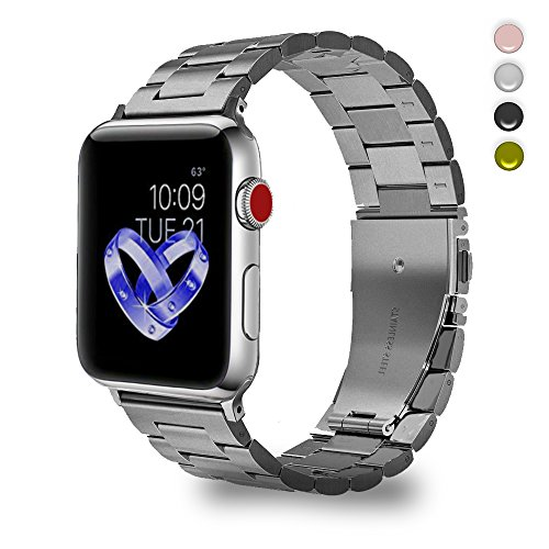 Bandmax Removable Link Bracelet Compatible Apple Watch,Replacement Strap Link Metal Band Accessories Mix Folding Clasp Compatible iWatch Series 4/3/2/1(Stainless Steel 42MM 44MM)