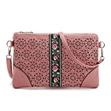 DukeTea Small Leather Crossbody Purse, Crossover Phone Bag for Women Teen Girls Pink