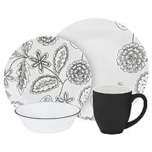 Corelle 1126653 Vive 16 Piece Dinnerware Set, Reminisce, Gray/White