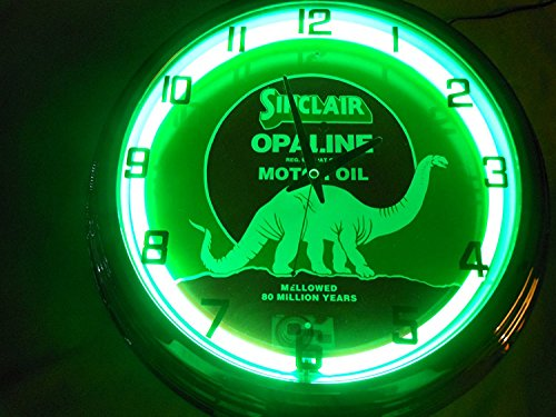 Sinclair Dino Motor OIL 17 Inch Neon Clock - Oil Neon Clock