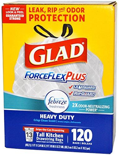 Glad ForceFlex OdorShield Drawstring Tall Kitchen Trash Bags, Heavy Duty, Crisp Clean, 13 Gallon (120 Ct) (Crisp Bags)