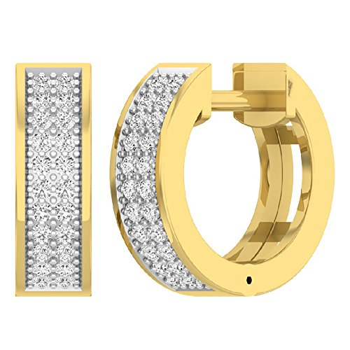 Dazzlingrock Collection 0.16 Carat (ctw) 18K Round Diamond Ladies Micro Pave Huggie Hoop Earrings, Yellow Gold
