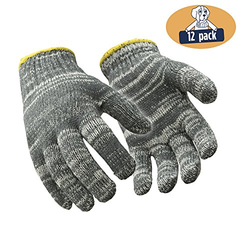 RefrigiWear Midweight Cotton String Knit Glove Liners (Multicolor Gray, Small) - PACK OF 12 PAIRS ()
