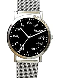 """Math Dial"" Watch Shows Physics Equations on the Black Dial of the Unisex Size Chrome Watch with Stainless Steel Mesh Band"