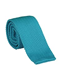 Tie - SODIAL(R)Men's Fashion Solid Tie Knit Knitted Tie Pure Color Necktie Narrow Slim Woven Lake blue