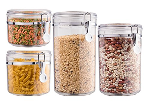 Storage Canister Set (Bellemain 4 Piece Airtight Acrylic Canister Set , Food Storage Container)
