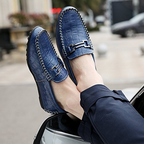 Ououvalley Mens Driving Shoes Premium In Vera Pelle Moda Slipper Casual Slip On Mocassini Scarpe Blu