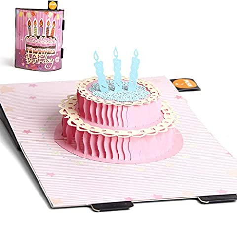 Arich 3D Pop Up Cake Candle Greeting Card Christmas Wedding Birthday Invitation (Push Button Sound Maker)