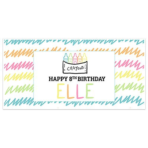 Doodle Crayons Birthday Banner Party Decoration Backdrop