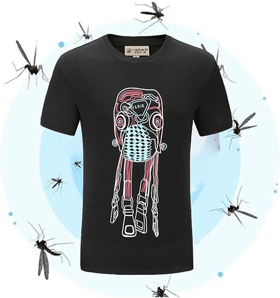 horen Camiseta de Verano Anti-Mosquitos de Manga Corta, Camiseta Informal de Manga Corta Estampada en Forma de O, picaduras de Mosquitos, Deportes al Aire Libre de Secado Suave y rápido: Amazon.es: Ropa
