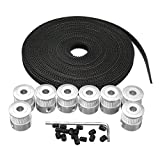 Drillpro 8Pcs 5mm 20Teeth Timing Pulley Wheel+GT2 5 Meters Timing Belt for 3D Printer