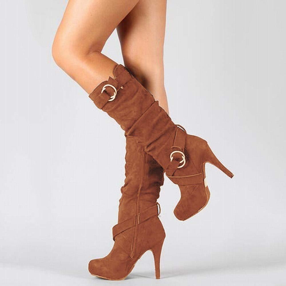 Lieyliso Damen High Heel Stiefel (Farbe   braun Größe   38)