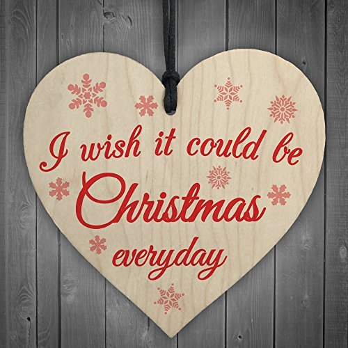Wish Christmas Everyday Wooden Hanging Heart Plaque Xmas Tree Decoration Sign