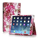 TNP iPad Mini Case (Flower Pink) - Slim Fit Synthetic Leather Folio Case Stand with Smart Cover Auto Sleep & Wake Feature and Stylus Holder for Apple iPad Mini 3 & iPad Mini 2