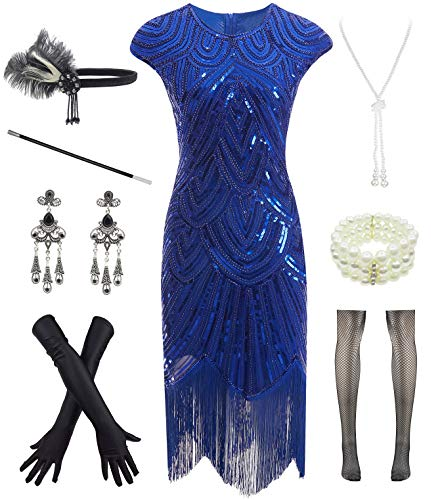 Women 1920s Vintage Flapper Fringe Beaded Gatsby Party Dress with 20s Accessories Set Blue