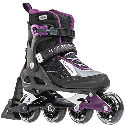 Rollerblade Macroblade W 80 ABT Specific Fit SG7 Bearings Inline Skates, Black/Purple, US Women's 10.5 -