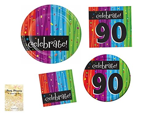 90th Birthday Party Supply Pack, Colorful Milestone Celebrations Design, 16 Guests, Bundle of 4 Items: Includes Dinner Plates, Dessert Plates, Lunch Napkins and Beverage Napkins