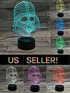 LE3D 3D Optical Illusion Desk Lamp/3D Optical Illusion Night Light, 7 Color LED 3D Lamp, Star Wars 3D LED For Kids and Adults, Darth Vader Light Up