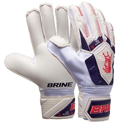 Goalkeeper Gloves Brine King Match 3X Soccer Goalie Glove Finger Save Protection Spines (White/Purple, 8)