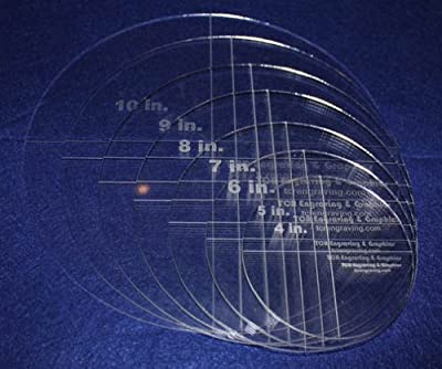 "Circle Template 7 Piece Set. 4"",5"",6"",7"",8"",9"",10"" - Clear 1/8"" Thick"