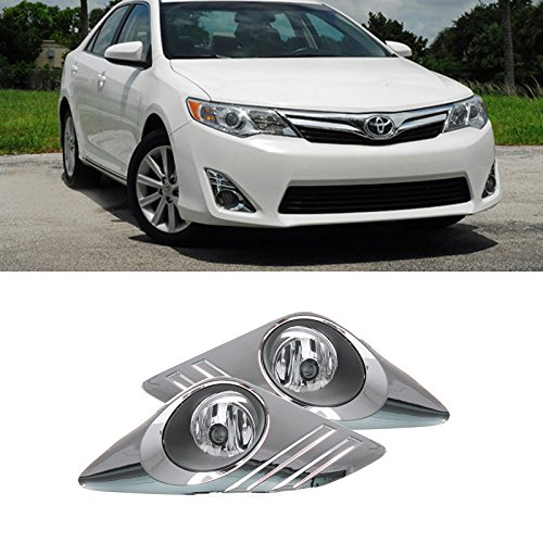 VIOJI 2pcs Aftermarket JDM Chrome Housing Clear Lens Fog Lights With Light Bulbs+Switch+Wiring Harness+Relay+Bracket For Toyota Camry L/LE/XLE/XSE/Hybrid