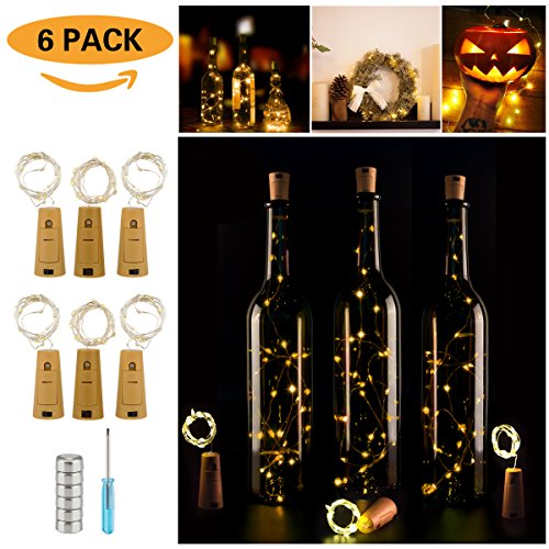Wine Bottle Lights with Cork,LED Cork Lights for Bottle 6 Pack,Copper Wire Bottle Lights for DIY, Party, Decor, Christmas, Halloween,Wedding(Warm White)