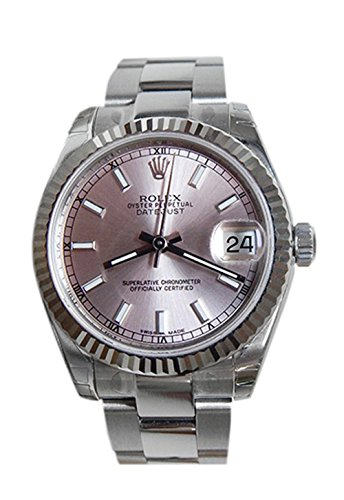Rolex Datejust 31mm Pink Dial White Gold Fluted Bezel Ladies Watch 178274