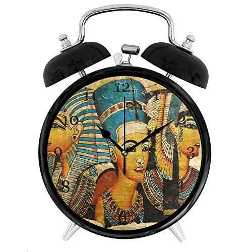 22yiihannz Ancient Egyptian Parchment Alarm Clock,Silent Non-Ticking Clock Art Painting Home Office School Decor- Vintage Double Bell Design - 3.8 inch