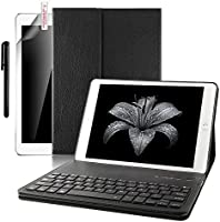 iPad Pro 9.7 Keyboard + Leather case ,Boriyuan Smart Case Stand Folio Cover with Detachable Wireless Bluetooth Keyboard and Screen Protector +Stylus for Apple iPad Pro 9.7 inch