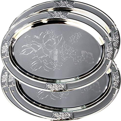 (Maro Megastore (Pack of 4) 20.1-Inch x 14.6-Inch Oval Chrome Plated Serving Tray Edge Floral Engraved Decorative Wedding Birthday Buffet Party Dessert Food Snack Wine Platter Plate 2160 L Tla-061)